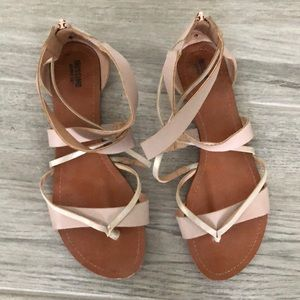 Pink and silver strappy sandals